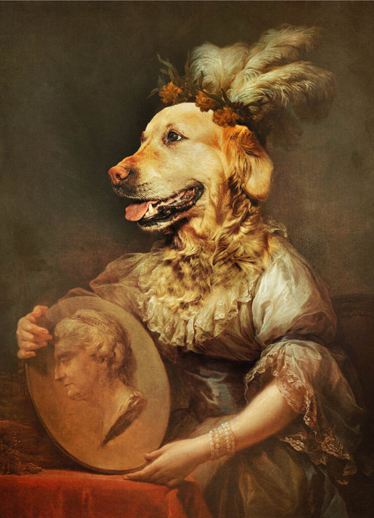 portret psa stylizowany